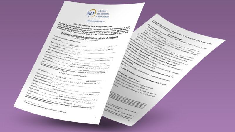 Pubblicato il nuovo modulo per accedere al Fondo per la sospensione dei mutui sulla prima casa