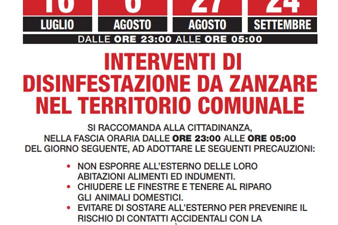 Comune di Ciampino: dal 16 Luglio cominceranno le operazioni di disinfestazione