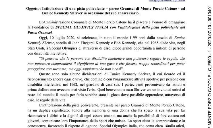 Monte Porzio Catone: Omaggio alla Fondatrice di SPECIAL OLYMPICS ITALIA
