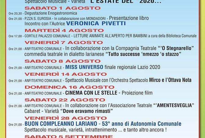 """LARIANO, ECCO IL PROGRAMMA COMPLETO DEGLI EVENTI """"ESTATE LARIANESE 2020"""""""