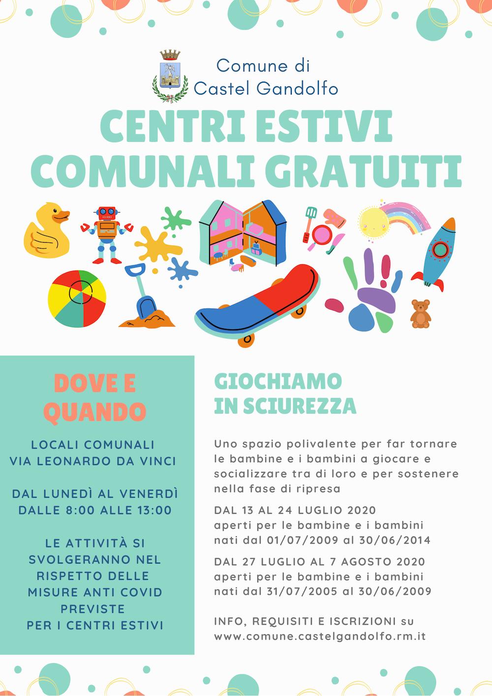 Castel Gandolfo: Dal 13 luglio parte il centro estivo comunale gratuito