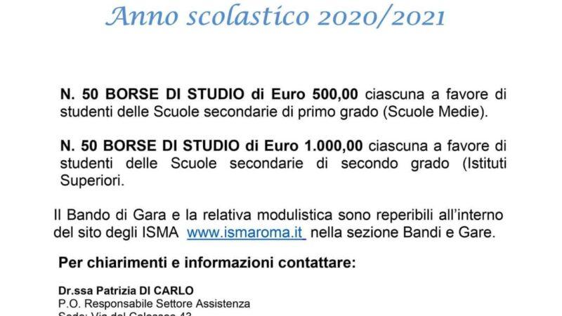 Pomezia, Bando per l'assegnazione di borse di studio ISMA 2020/2021Bando per l'assegnazione di borse di studio ISMA 2020/2021