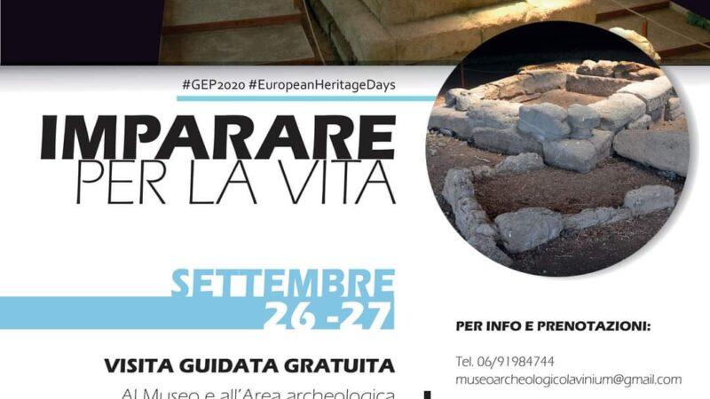 """Pomezia #GEP2020 Il Museo Civico Archeologico Lavinium, in occasione delle Giornate Europee del Patrimonio 2020, presenta l'evento """"Imparare per la Vita"""" che si svolgerà sabato 26 e domenica 27 settembre alle ore 10:00 e alle ore 16:00."""