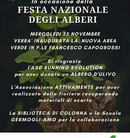 Colonna, mercoledì 25 novembre inaugurazione nuova area verde presso Nido comunale