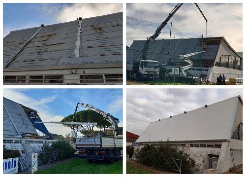Palazzetto dello Sport, Cava dei Selci: continua il rifacimento del tetto