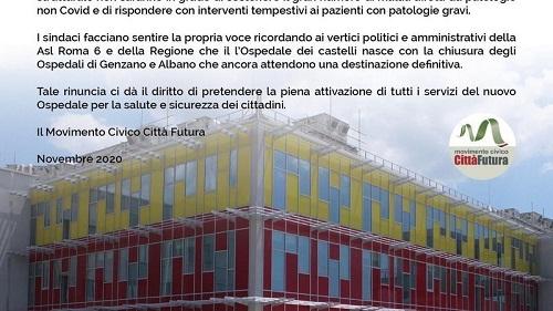 NOC, petizione online di Città Futura (Genzano) per riaprire Pronto Soccorso, Medicina e Chirurgia