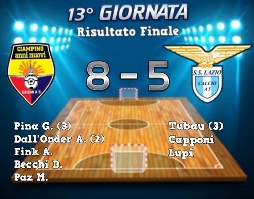 Calcio a 5 – Ciampino Anni Nuovi fatica, ma esulta: 8-5 alla Lazio!
