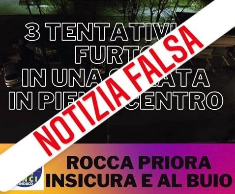"""Siamo Rocca Priora: """"Tre furti, notizia falsa. Possibile denuncia per procurato allarme"""""""