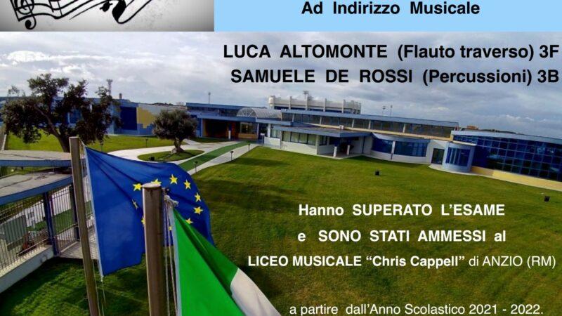 """Velletri, due allievi della scuola """"Mariani"""" ammessi al Liceo Musicale """"Chris Cappell"""" di Anzio"""