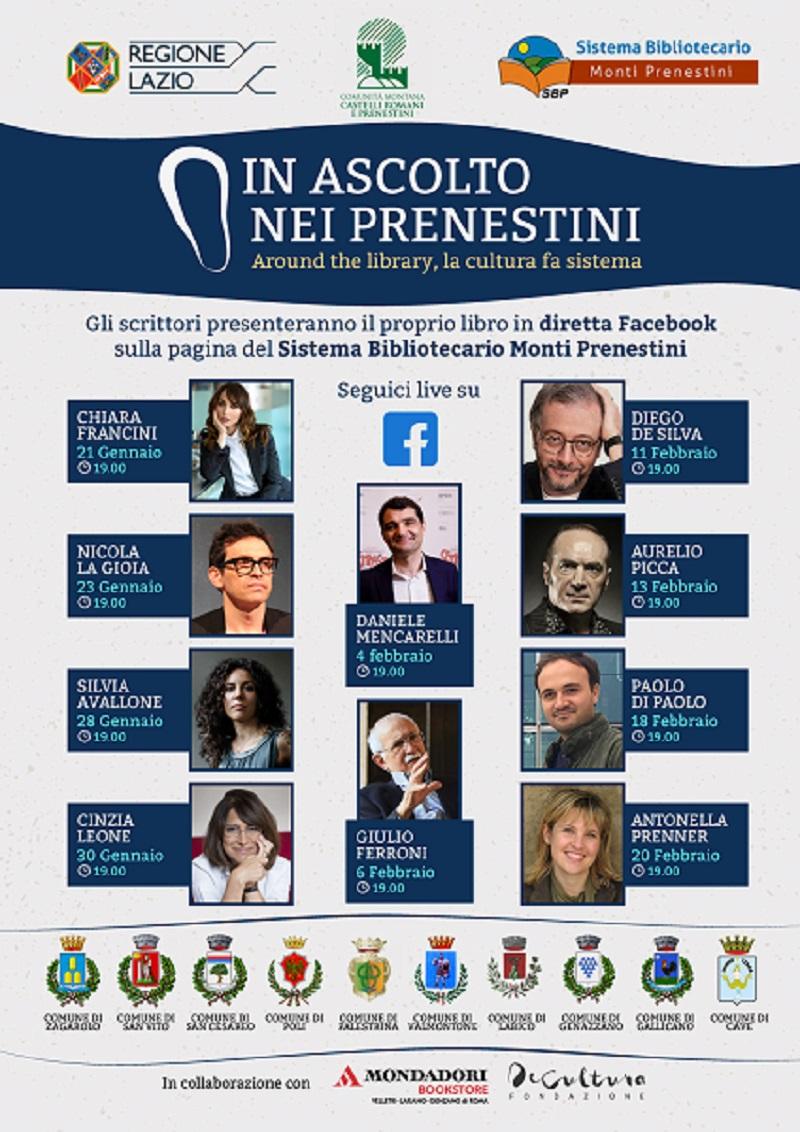 """""""In ascolto nei Prenestini"""", dieci incontri letterari con autori di grande successo"""