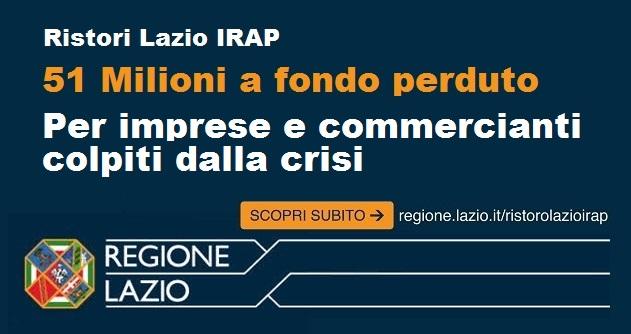 Ristoro Lazio Irap pronti 51 milioni a fondo perduto per sostenere le attività