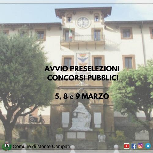 Monte Compatri, dal 5 all'8 marzo prove preselettive per concorsi pubblici